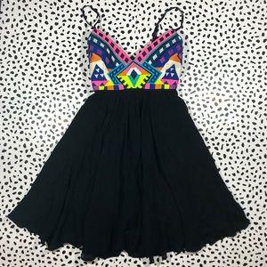 Mara Hoffman dress embroidered neon crepe black
